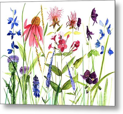 Metal Print featuring the painting Garden Flowers by Laurie Rohner