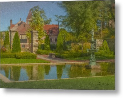 Garden Fountain At Ames Free Library Metal Print by Bill McEntee