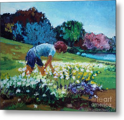 Metal Print featuring the painting Garden Girl by Diane Ursin
