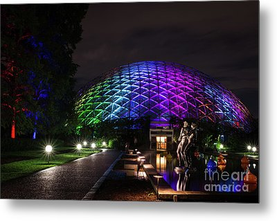 Garden Globe At Night Metal Print by Andrea Silies