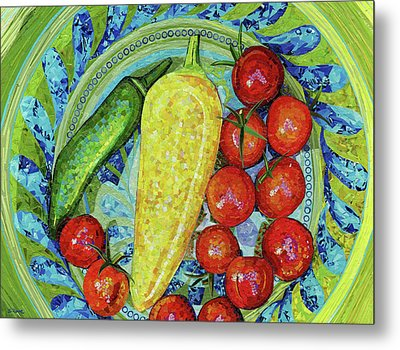 Metal Print featuring the mixed media Garden Harvest by Shawna Rowe