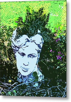Garden Nymph Head Planter Metal Print