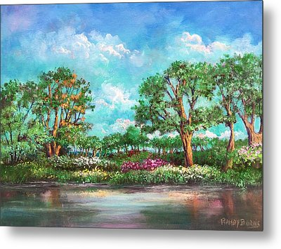 Metal Print featuring the painting  Summer In The Garden Of Eden by Randol Burns