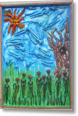 Garden Of Eden Nature Overwhelming Itself Metal Print by Michelley QueenofQueens