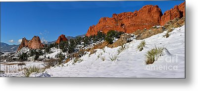 Metal Print featuring the photograph Garden Of The Gods Snowy Blue Sky Panorama by Adam Jewell