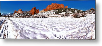 Metal Print featuring the photograph Garden Of The Gods Snowy Morning Panorama by Adam Jewell