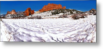 Metal Print featuring the photograph Garden Of The Gods Snowy Morning Panorama Crop by Adam Jewell