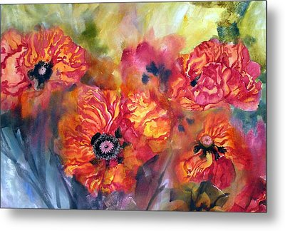 Garden Poppies Metal Print