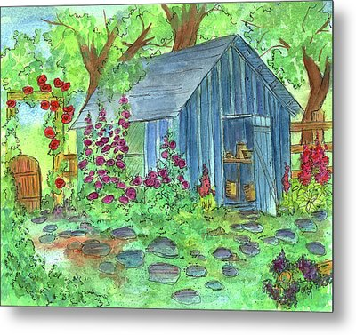 Garden Potting Shed Metal Print by Cathie Richardson