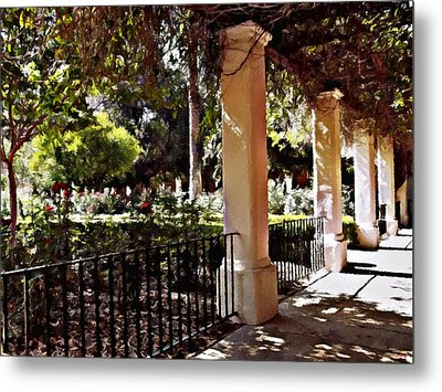 Metal Print featuring the photograph Garden Promenade - San Fernando Mission by Glenn McCarthy Art and Photography