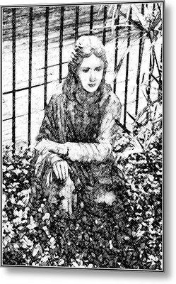 Metal Print featuring the digital art Garden Sculpture Sketch by Ellen Barron O'Reilly