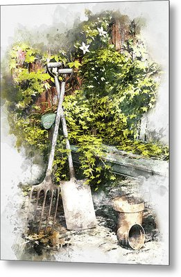 Garden Seat Metal Print by Shanina Conway