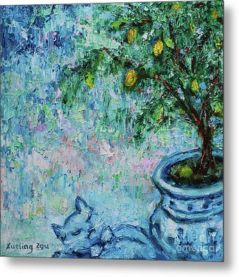 Metal Print featuring the painting Garden Sleeping Cat by Xueling Zou