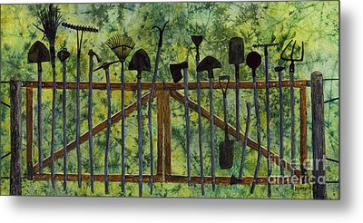 Metal Print featuring the painting Garden Tools by Hailey E Herrera