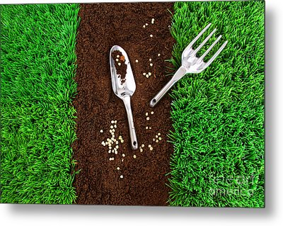 Garden Tools On Earth Metal Print by Sandra Cunningham