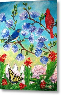 Garden View Birds And Butterfly Metal Print