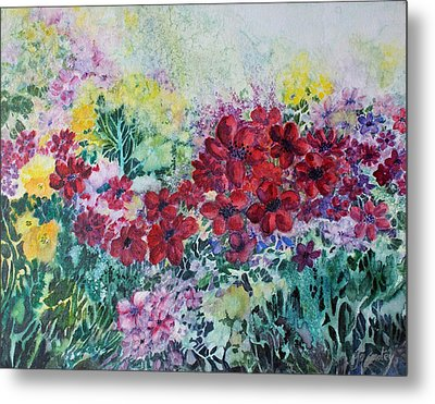 Metal Print featuring the painting Garden With Reds by Joanne Smoley