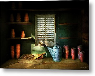 Metal Print featuring the photograph Gardener - The Potters Shed by Mike Savad