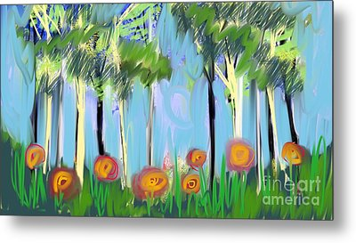Metal Print featuring the digital art Gardenscape 1 by Elaine Lanoue