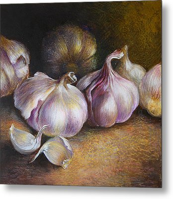 Garlic Painting Metal Print by Vali Irina Ciobanu