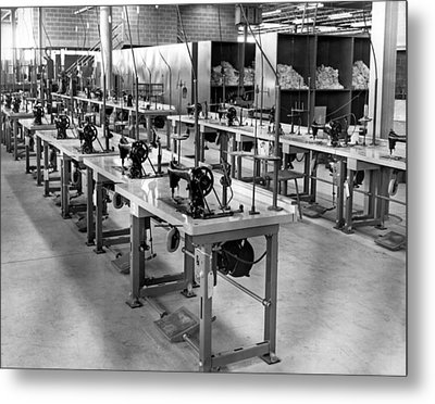 Garment Factory Interior Metal Print by Underwood Archives