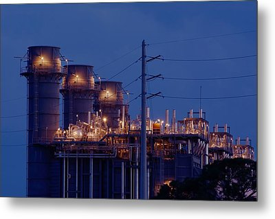 Metal Print featuring the photograph Gas Power Plant At Night by Bradford Martin