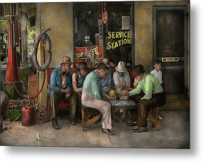 Gas Station - Playing Checkers Together 1939 Metal Print by Mike Savad