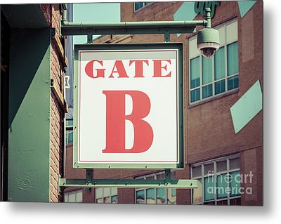 Gate B Sign At Boston Fenway Park Metal Print by Paul Velgos