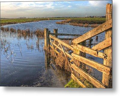 Gate On The Marsh Metal Print