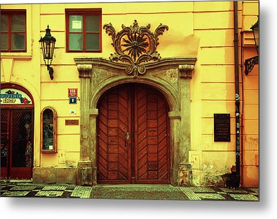 Metal Print featuring the photograph Gates Of Sun. Series Golden Prague by Jenny Rainbow