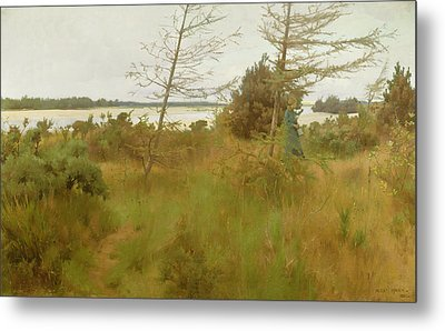 Gathering Firewood By The Shore Of A Lake Metal Print by Alexander Mann