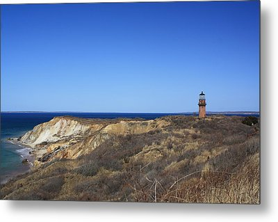 Metal Print featuring the photograph Gay Head Lighthouse And Cliffs by Greg DeBeck
