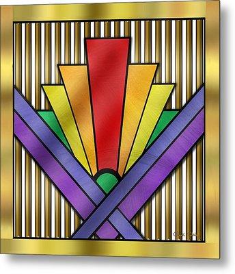 Rainbow Art Deco Metal Print by Chuck Staley
