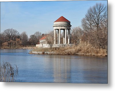 Gazebo And Boathouse In Fdr Park Metal Print