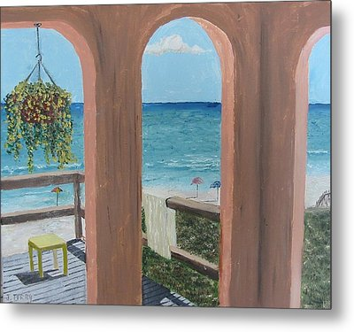 Gazebo At Blue Mountain Beach Metal Print by John Terry