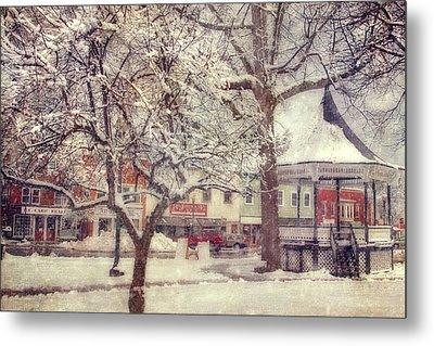 Gazebo In Snow - Milford New Hampshire Metal Print by Joann Vitali