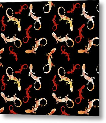 Metal Print featuring the mixed media Gecko Pattern by Christina Rollo