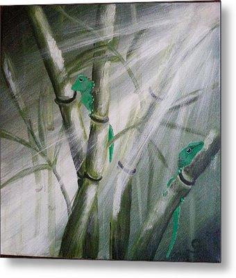 Geckos On The Bamboos Metal Print by Judit Szalanczi