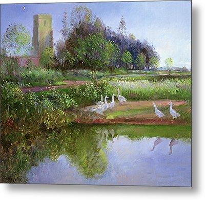 Geese At Sundown Metal Print