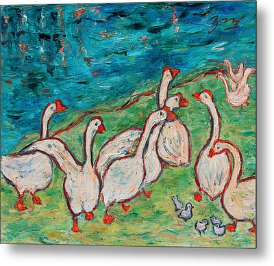 Metal Print featuring the painting Geese By The Pond by Xueling Zou