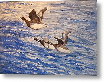 Geese In Flight Metal Print by Siona Koubek