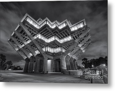 Geisel Library In Black And White Metal Print by Eddie Yerkish