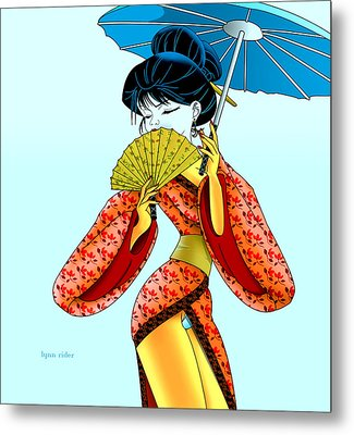 Metal Print featuring the painting Geisha Girl by Lynn Rider