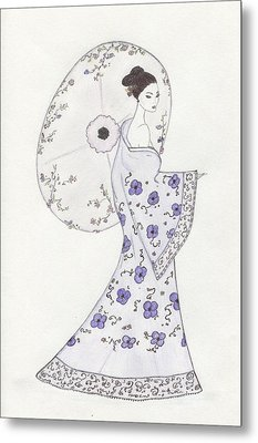 Geisha In Bloom Metal Print by Christine Corretti