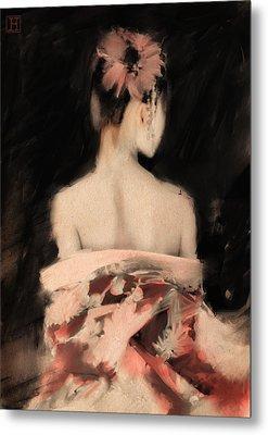 Geisha In Pink Metal Print