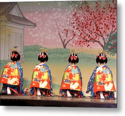 Geisha Row Metal Print