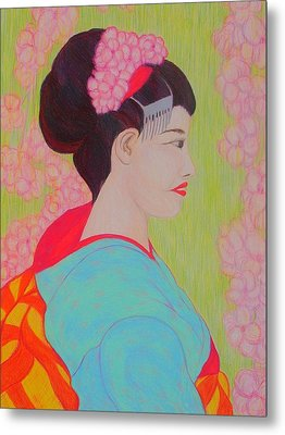 Geisha With Cherry Blossoms Metal Print by Beth Akerman