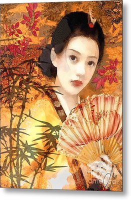 Geisha With Fan Metal Print by Mo T