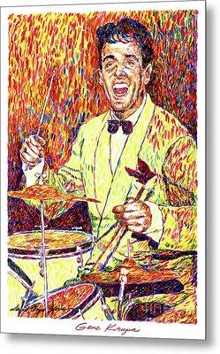 Gene Krupa The Drummer Metal Print by David Lloyd Glover