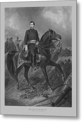 Metal Print featuring the mixed media General George Mcclellan On Horseback by War Is Hell Store